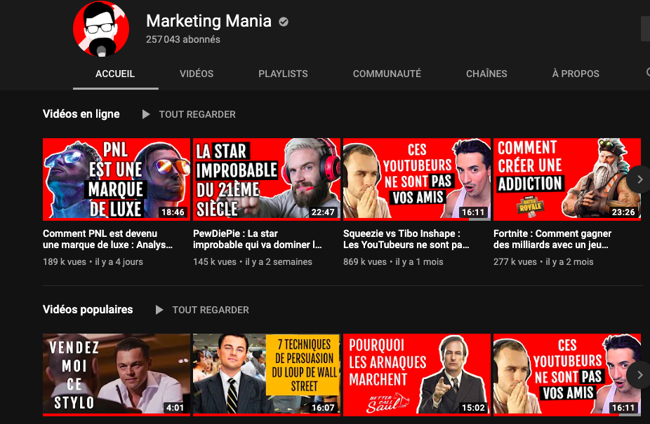 youtube page : marketing mania
